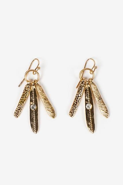Triple Feather Earrings