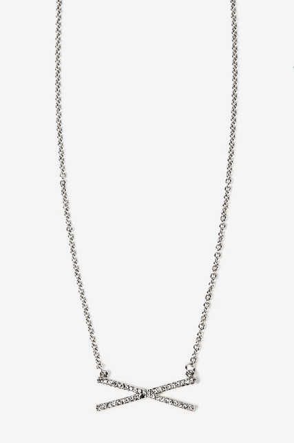 Pave Crystal X Necklace