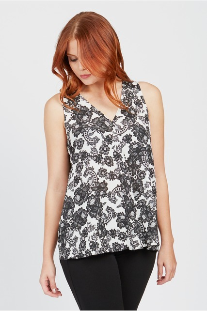 Lace Drape Front Top