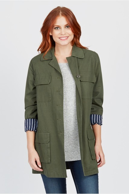 Striped Lining Army Coat