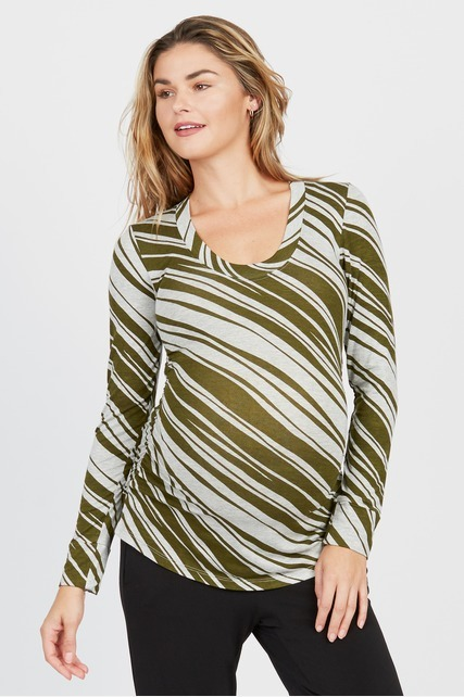 Olive Striped Crewneck
