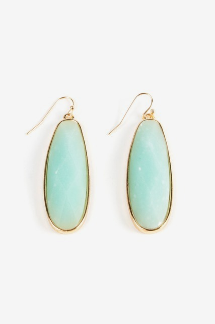 Aqua Faceted Drop Earring