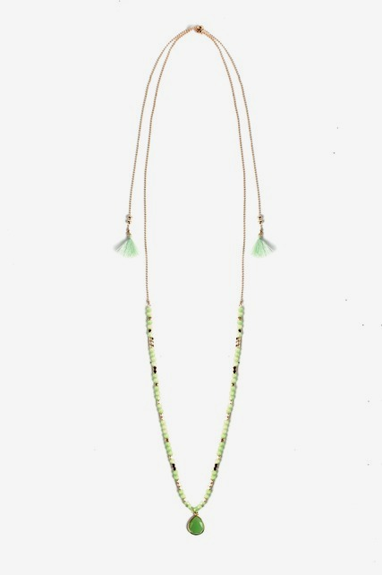 Green Tassel Necklace