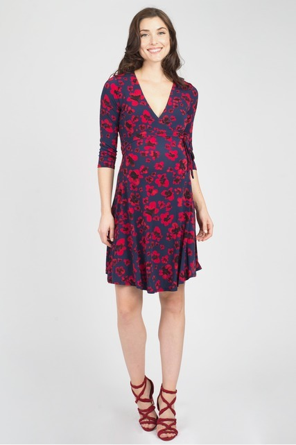 Pansy Print Wrap Dress