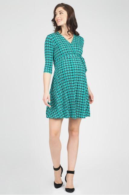 Aqua Geo Wrap Dress