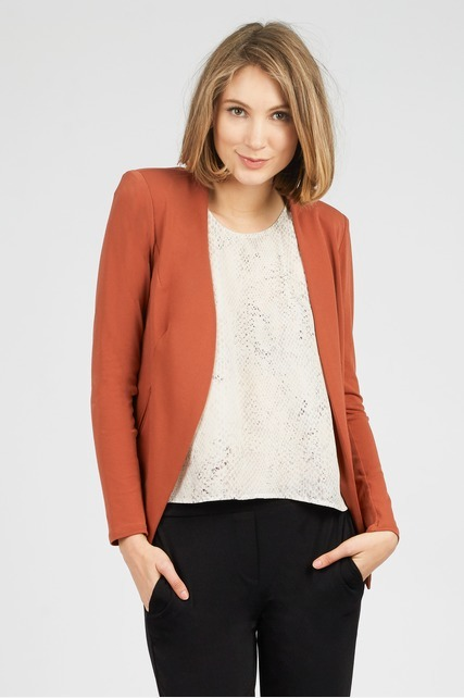 Collarless Low-High Blazer