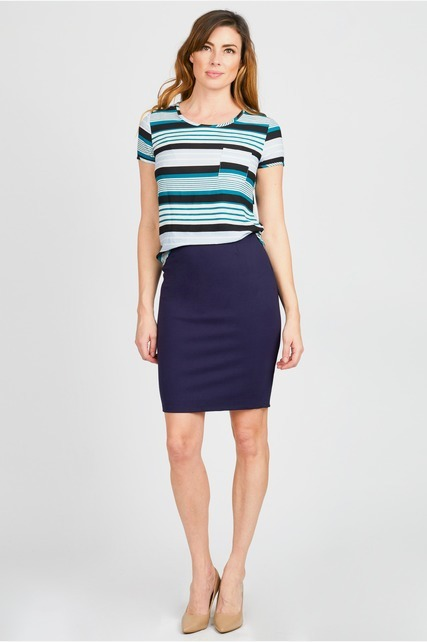 Piped Back Pencil Skirt