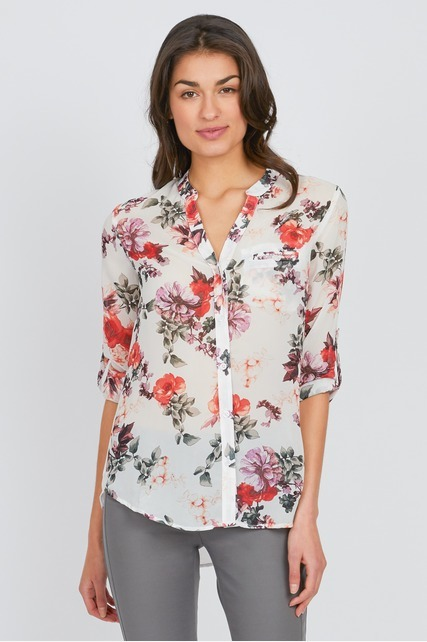 Floral Split Neck Top