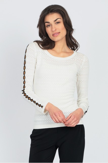 Contrast Trim Pointelle Sweater