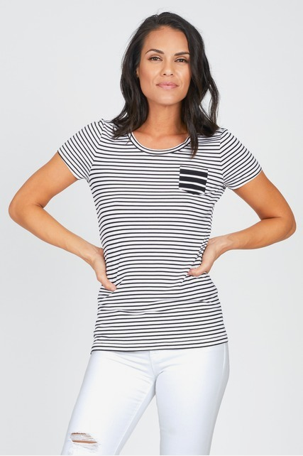 Mixed Stripe Pocket Tee