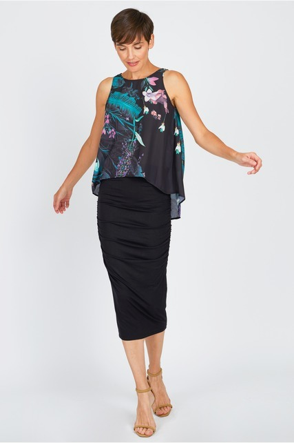 Side Ruched Midi Skirt