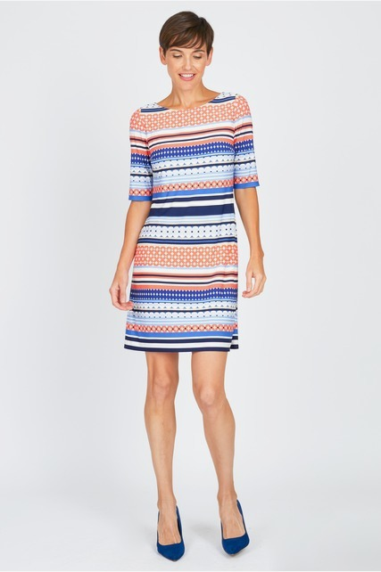 Printed Stripe Shift Dress