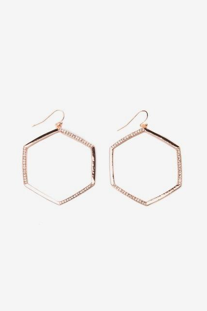 Hexagon Crystal Hoops