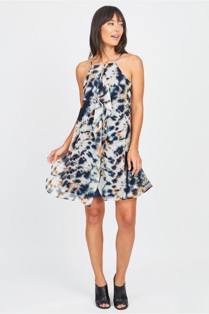 Printed Cascade Dress