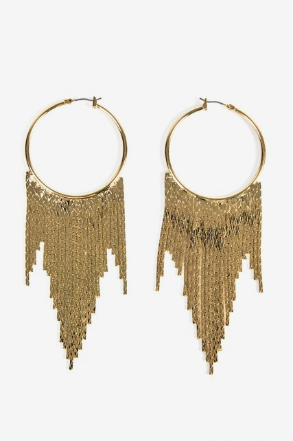 Large Chain Fringe Hoop