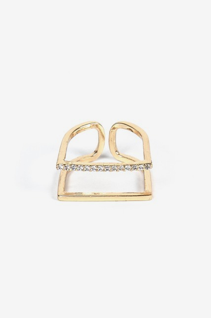 Double Bar Crystal Ring