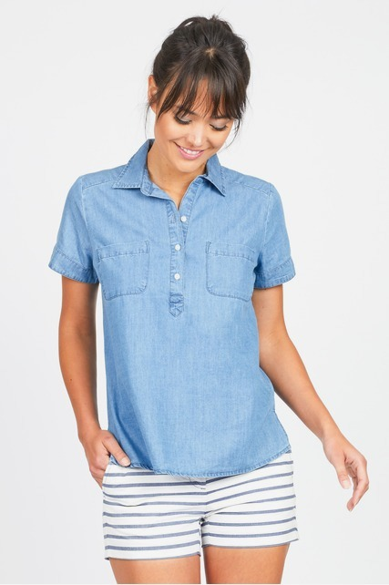 Quarter Button Up Top