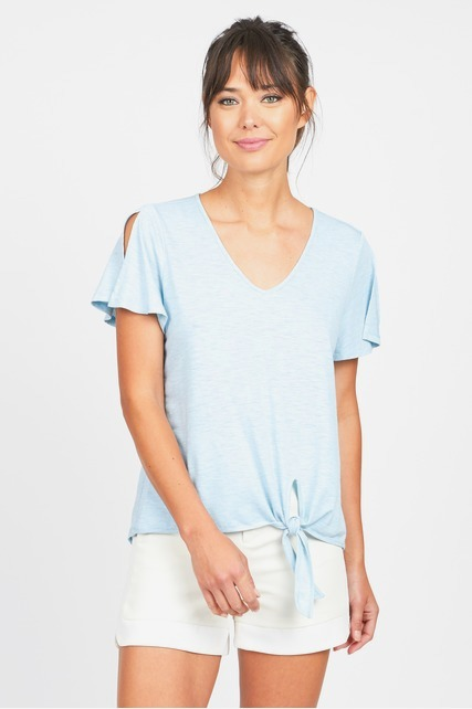 Split Sleeve Knot Top