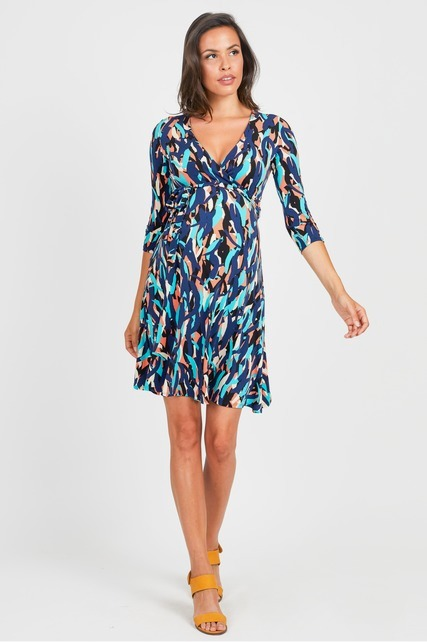 Abstract Wrap Dress