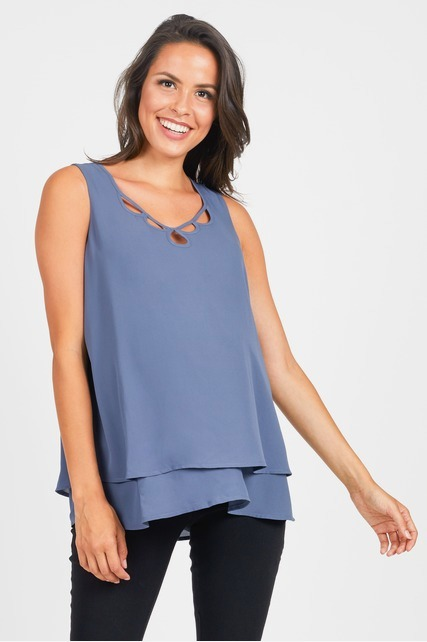 Cut Out V Neck Blouse
