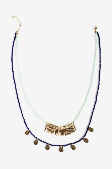Layered Bead Fringe Necklace