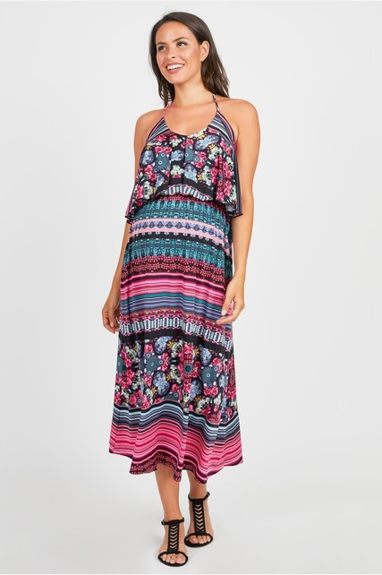 Popover Halter Maxi Dress