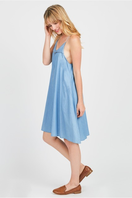 Zip Up Chambray Dress