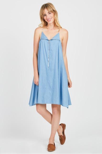 Zip Up Chambray Dress