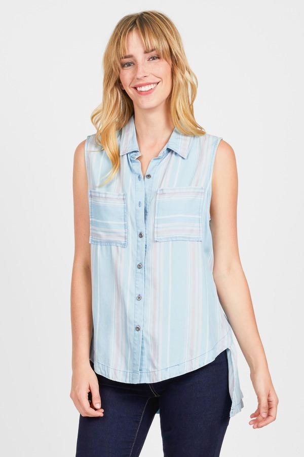 Striped High Low Shirt