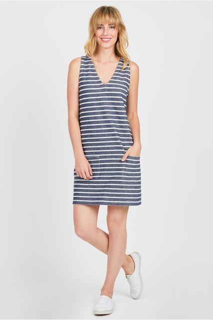 Striped Pocket Front Dress