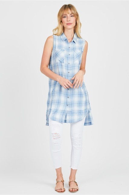 Plaid Button Up Tunic