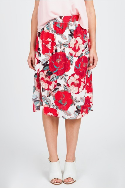 Side Slit Floral Skirt