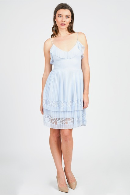 Layered Pleat Lace Dress