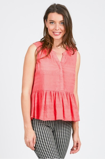 Split Neck Peplum Top