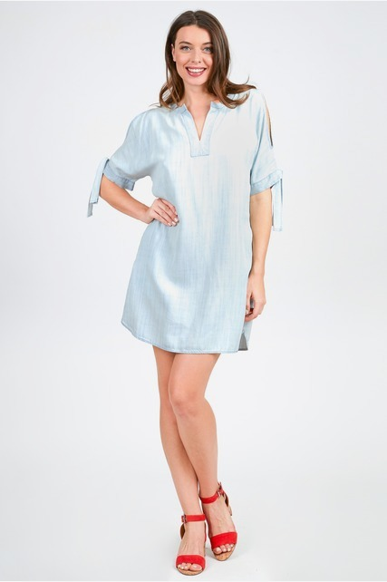 Tie Sleeve Chambray Dress