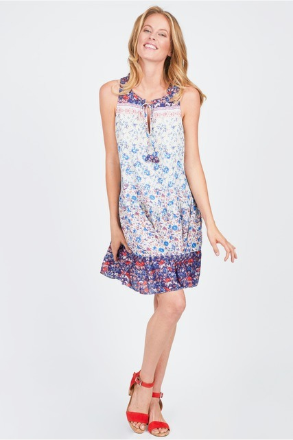Split Neck Printed Dress