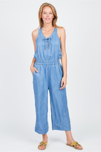 Lace Up Cropped Jumpsuit