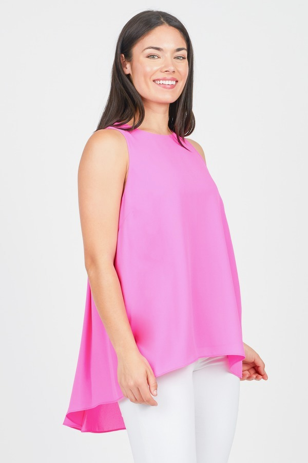 Pleat Back High Low Top