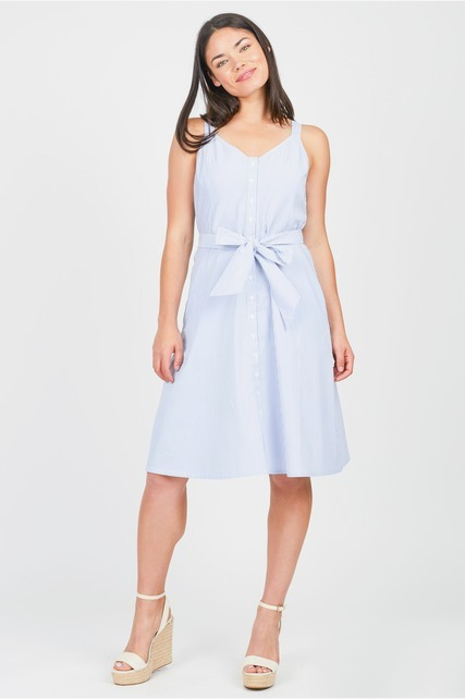 Pinstripe Cinch Tie Dress