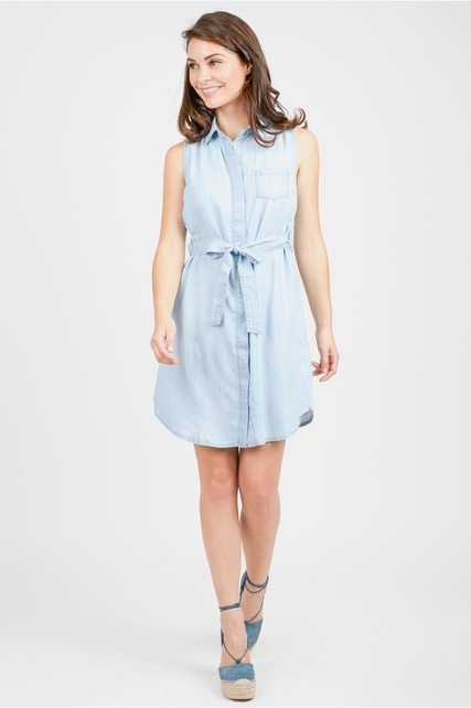 Tencel Tie Shirt Dress