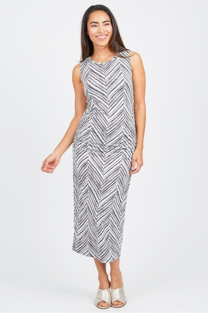 Chevron Ruched Dress