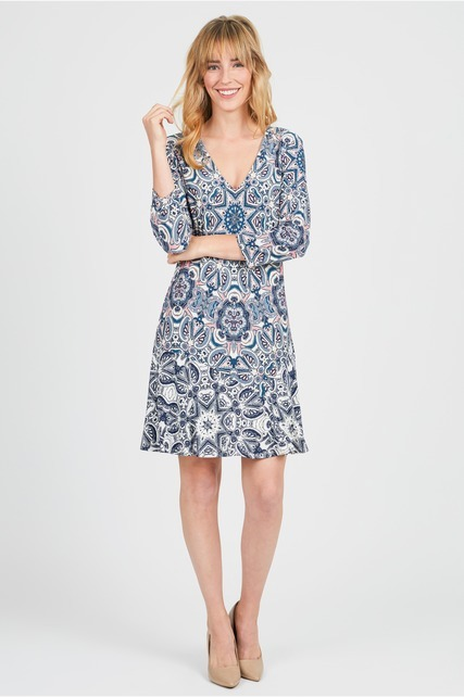 Printed Flare Hem Dress