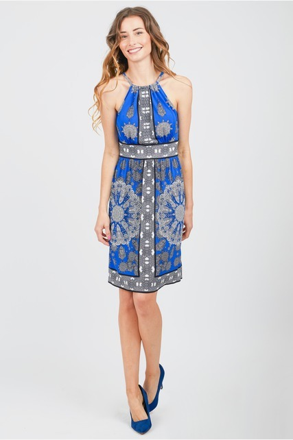 Contrast Border Print Dress