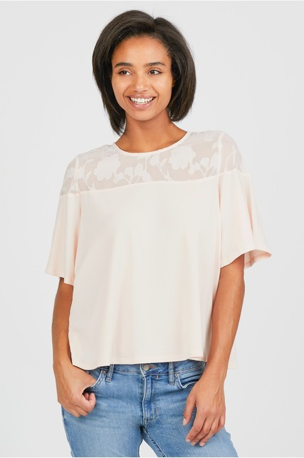 Sheer Floral Yoke Blouse