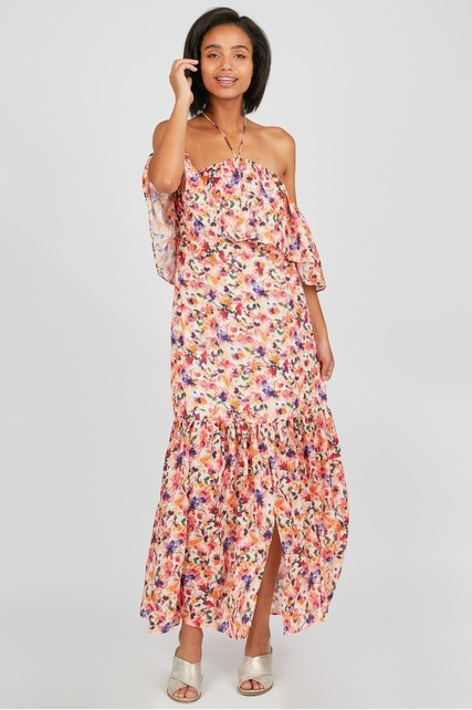 Popover Floral Maxi Dress