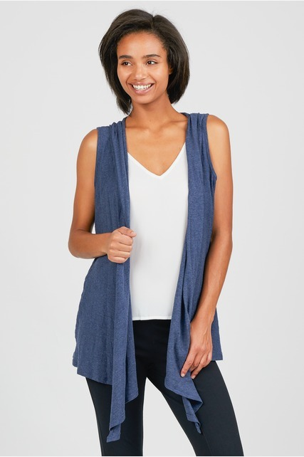 Drape Front Hooded Vest