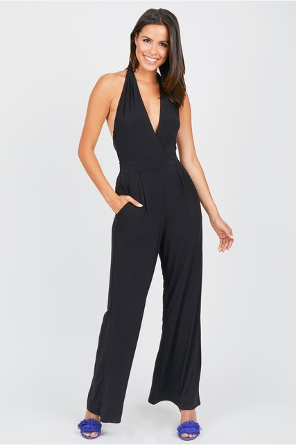 Open Back Deep V Jumpsuit