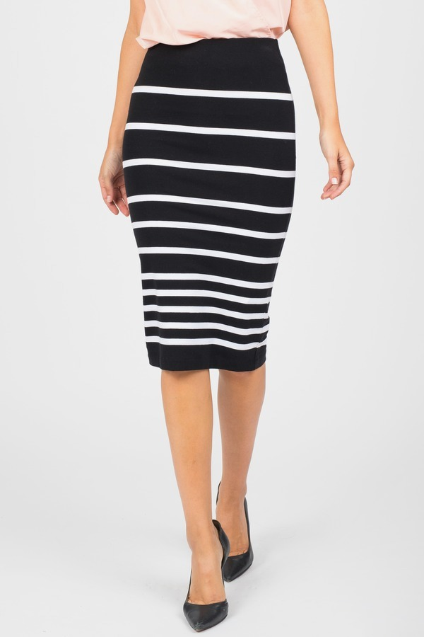 Striped Stretchy Knit Midi Skirt