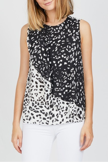 Animal Print Layered Top