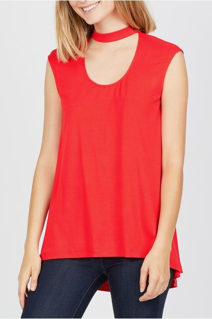 Mock Neck Cutout Top
